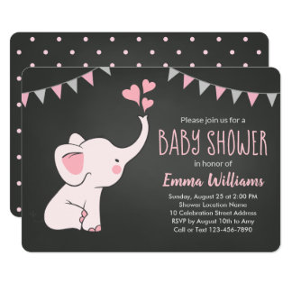 Elephant Baby Shower Invitations for Girl | Pink