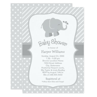 Elephant Baby Shower Invitations   Gray and White