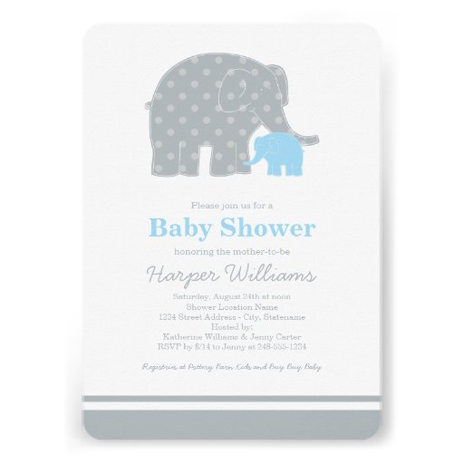 Elephant Baby Shower Invitations | Light Blue Gray