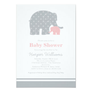 Elephant Baby Shower Invitations | Light Pink Gray