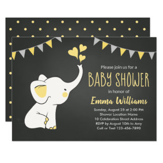 Elephant Baby Shower Invitations | Neutral
