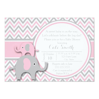 "Elephant Baby Shower Invitations, Pink and Gray 5"" X 7"" Invitation Card"