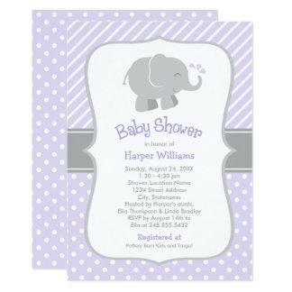 Elephant Baby Shower Invitations   Purple and Gray