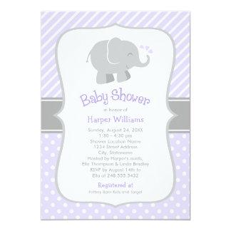 Elephant Baby Shower Invitations | Purple and Grey