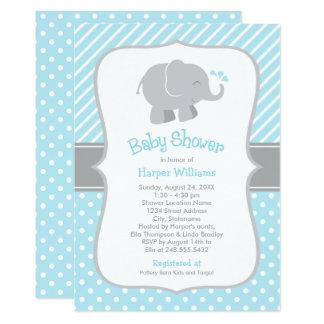 Elephant Baby Shower Invitations   Sky Blue Gray