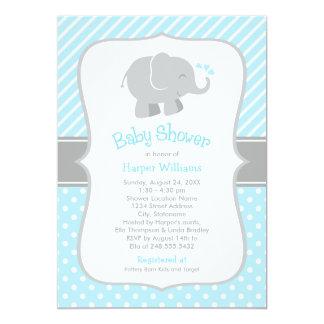 Elephant Baby Shower Invitations | Sky Blue Gray