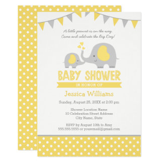 Elephant Baby Shower Invitations | Yellow and Gray