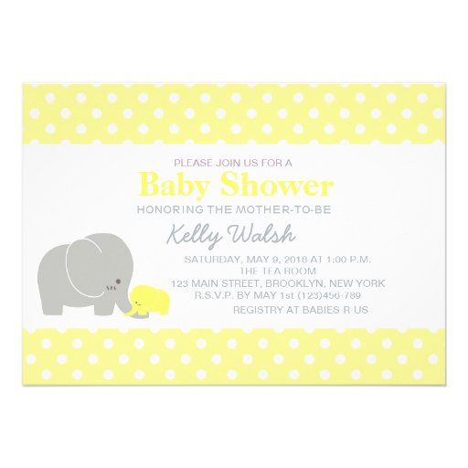 Elephant Baby Shower Invitations Yellow and Gray Invites