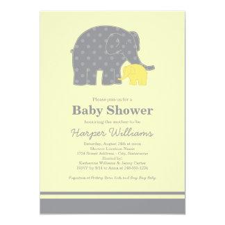 Elephant Baby Shower Invitations   Yellow & Grey