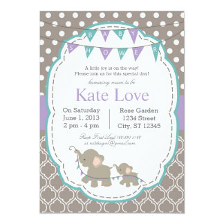 Elephant Baby Shower Lavendar Teal  Invitations