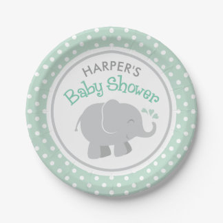 Elephant Baby Shower | Mint Green and Gray Paper Plate