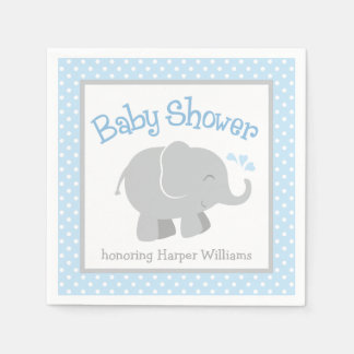 Elephant Baby Shower Napkins | Blue and Gray Disposable Napkins