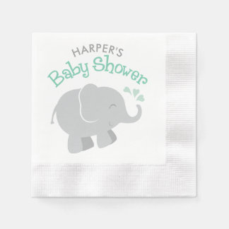 Elephant Baby Shower Napkins | Mint Green and Gray