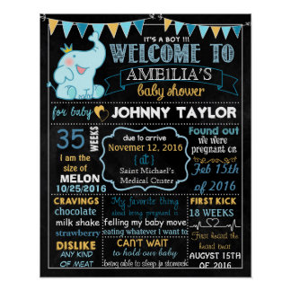 Elephant Baby Shower Party chalkboard sign Boy Poster