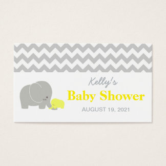 Elephant Baby Shower Party Favor Tag Chevron Business Card