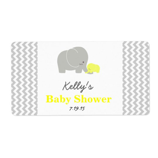 Elephant Baby Shower Personalized Favour Labels
