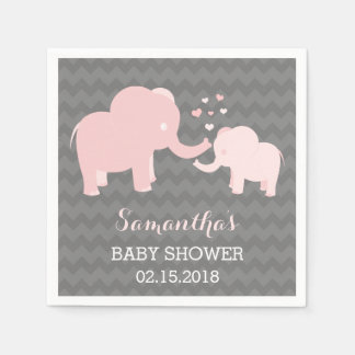 Elephant Baby Shower Pink and Grey Paper Napkins