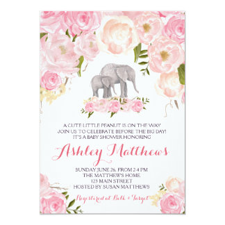 "Elephant Baby Shower, pink floral 5"" X 7"" Invitation Card"
