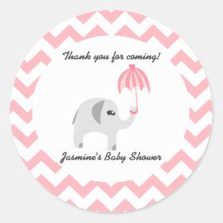 Elephant Baby Shower Pink Umbrella Round Sticker