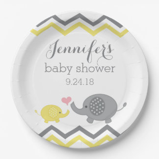 Elephant Baby Shower Plates   Yellow Grey Chevron 9 Inch Paper Plate