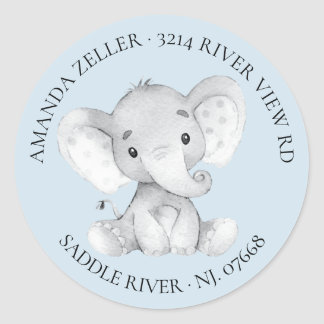 Elephant Baby Shower Return Address Label
