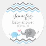Elephant Baby Shower Stickers | Blue Grey Chevron