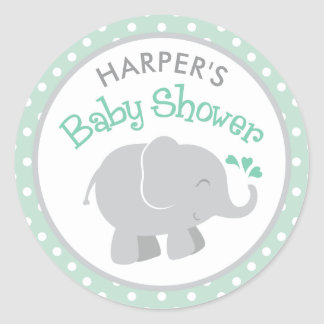 Elephant Baby Shower Stickers | Mint and Gray