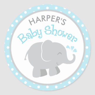 Elephant Baby Shower Stickers   Sky Blue and Gray