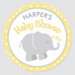 Elephant Baby Shower Stickers | Yellow and Grey