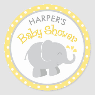 Elephant Baby Shower Stickers   Yellow and Grey