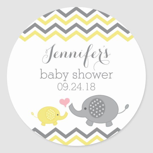 Elephant Baby Shower Stickers Yellow Grey Chevron