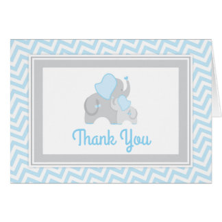 Elephant Baby Shower Thank You Card Blue and Gray