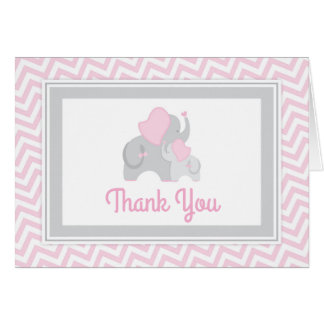 Elephant Baby Shower Thank You Card Pink and Gray