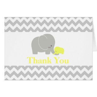 Elephant Baby Shower Thank You Card Yellow | Gray