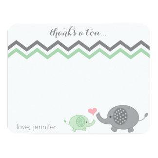 "Elephant Baby Shower Thank You Green Gray Chevron 4.25"" X 5.5"" Invitation Card"