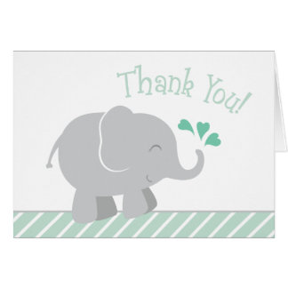Elephant Baby Shower Thank You | Mint Green Card
