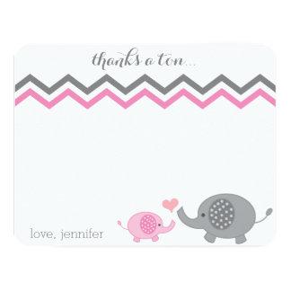 "Elephant Baby Shower Thank You Pink Gray Chevron 4.25"" X 5.5"" Invitation Card"