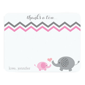"Elephant Baby Shower Thank You Pink Gray Chevron 4.25"" X 5.5"" Invitation Card"