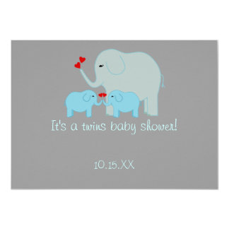 "Elephant Baby Shower Twin Boys 4.5"" X 6.25"" Invitation Card"