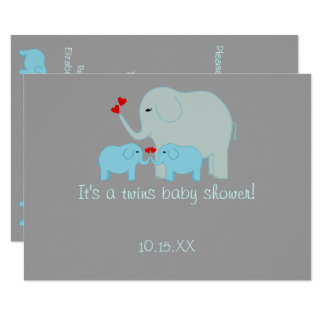 Elephant Baby Shower Twin Boys Card