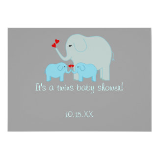 "Elephant Baby Shower Twin Boys 4.5"" X 6.25"" Invitation Card"