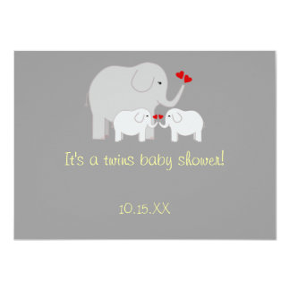 "Elephant Baby Shower Twins Gender Neutral 4.5"" X 6.25"" Invitation Card"
