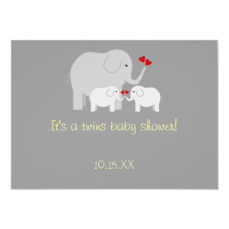 "Elephant Baby Shower Twins Gender Neutral 4.5"" X 6.25"" Invitation Card"