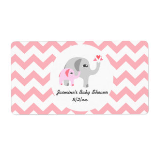Elephant Baby Shower Water Bottle Labels