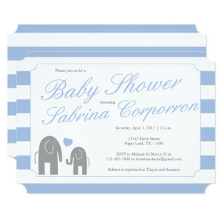 Elephant Baby Shower with Stripes - Light Blue Card