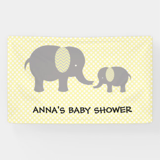 Elephant Baby Shower - Yellow and Gray Banner