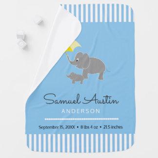 Elephant & Baby & Umbrella Baby Boy Announcement Baby Blanket
