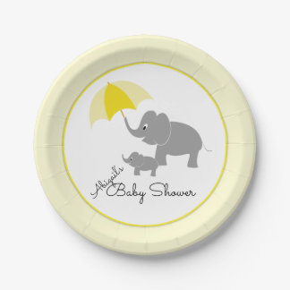 Elephant & Baby, Umbrella Baby Shower 7 Inch Paper Plate