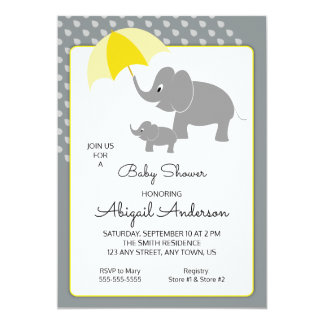 Elephant & Baby, Umbrella Baby Shower Invitation