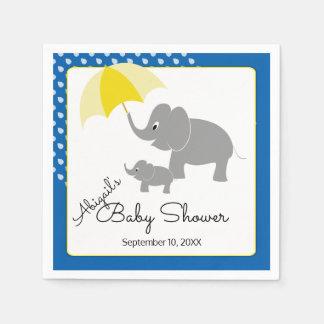 Elephant & Baby, Umbrella, Blue Baby Shower Paper Napkins